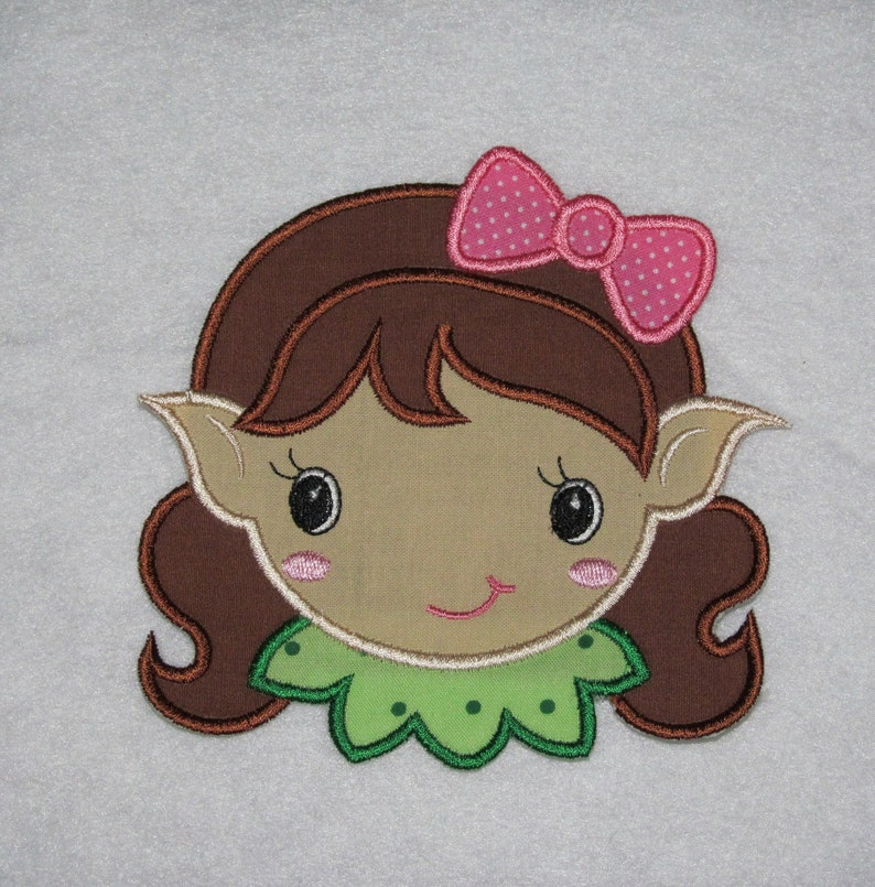 Custom Colors Available MADE To ORDER No Sew Applique Girl Elf Iron On Christmas Applique Embellishment Embroidered Applique Patch