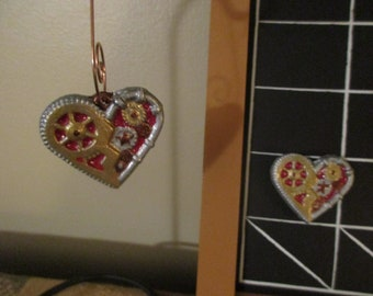 Steampunk heart magnet or ornament.