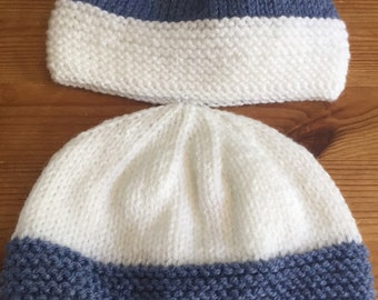 23abcc80f68 Hand knit baby hat. Double knit yarn. To fit from 0-3 months. Single or  double pack.