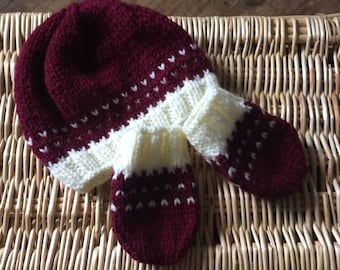 Hand knit baby hat and mittens. Aran yarn. To fit 0-6 months. b5cece64b71c