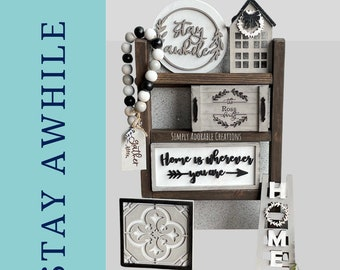 Stay Awhile Personalized Tiered Tray Decor,  Modern Farmhouse Decor, 3D Wood Signs, Everyday Tabletop  Display, Thanksgiving Decor