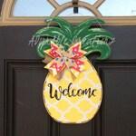 Pineapple Door Hanger, Teacher Welcome Sign, Summer Door Hanger, Welcome Pineapple,, Summertime, Pineapple Wreath, Welcome Wreath