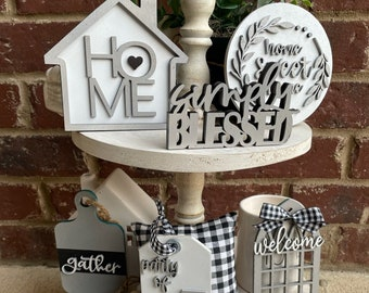 Home Tiered Tray Decor Bundle, Neutral Modern Farmhouse Decor, 3D Wood Signs, Everyday Tabletop  Display, Spring Easter, Birthday Gift