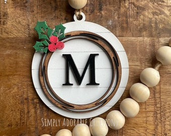 Monogram Shiplap Wreath Christmas  Christmas Ornament, Personalized Stocking Tag