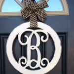 Circle Monogram Door Hanger, 18 in, Initial Door Hanger, Monogram Letter Door Hanger, Front Door Wreath, Wedding, Housewarming, Christmas