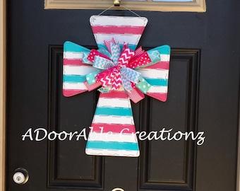 Spring Cross Door Hanger, Cross Door Hanger, Easter Cross Door Hanger