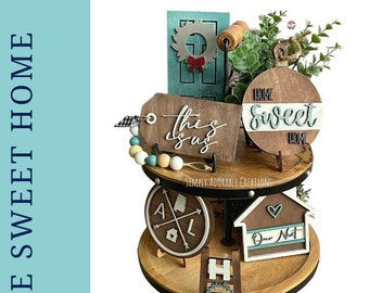 Home Sweet Home Tiered Tray Decor, Neutral Modern Farmhouse Decor, 3D Wood Signs, Everyday Tabletop  Display, Thanksgiving Decor