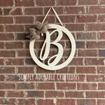 Circle Monogram Door Hanger,  Script Initial Door Hanger, Monogram Letter Door Hanger, Front Door Wreath, Best Selling Items, Mother's day