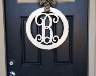 circle monogram door hanger 18 in initial door hanger monogram letter door hanger front door wreath wedding housewarming birthday