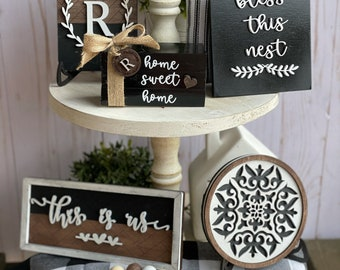 Family Tiered Tray Decor Bundle, Neutral Modern Farmhouse Decor, 3D Wood Signs, Everyday Tabletop  Display,Fall, This is Us Birthday Gift