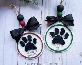 Teacher Paw Print  Christmas Ornament, Custom School Spirit  Ornament