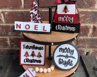 Christmas Tiered Tray Decor Bundle, Farmhouse Holiday Shelf Decor, 3D Wood Signs, Christmas Decorations