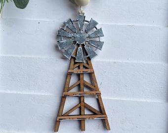 Farmhouse Windmill  Christmas Ornament, Rustic Christmas Tree Decor