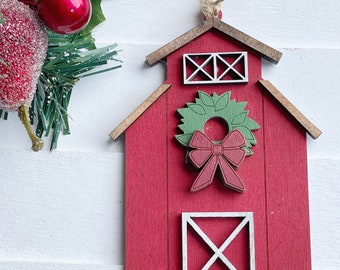 Farmhouse Barn Christmas Ornament, Rustic Christmas Decor