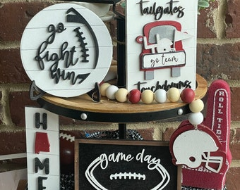 Football  Tiered Tray Decor Bundle, GameDay Decor, 3D Wood Signs, Ball Game Tray Set