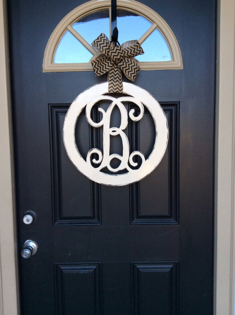 Circle Monogram Door Hanger 18 in Initial Door Hanger image 0