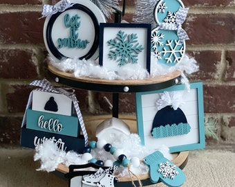Winter Tiered Tray Decor Bundle, Let It Snow Farmhouse Decor, 3D Wood Signs, Tabletop  DIsplay,