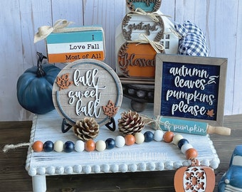 Fall Tiered Tray Decor Set, Autumn Farmhouse Decor, Tiered Tray Bundle, Fall Wreath, Fall Tiered Tray Signs, Mantle Display, Shelf Sitters