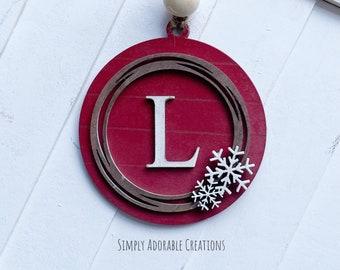 Monogram Shiplap Snowflake  Christmas  Christmas Ornament, Personalized Stocking Tag