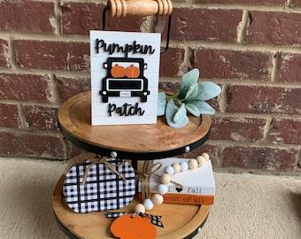Fall Farmhouse Truck Tiered Tray Decor Set, Modern Farmhouse Decor, 3D Wood Signs, Buffalo Plaid Pumpkin