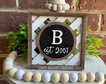 Monogram Basket Weave  Tiered Tray Sign , Mini Personalized Sign, Family Name Shelf Sitter
