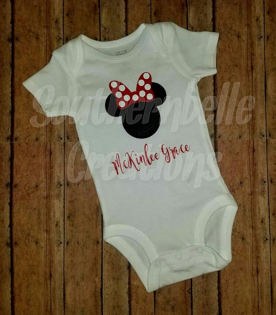 dfc6b7bb8 Minnie Mouse Outfit Baby Girl Minnie Mouse Red Black and White Minnie  Outfit Personalized Minnie Onesie ...