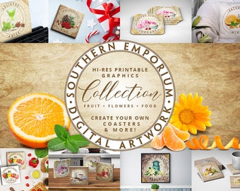 The Southern Emporium Handcrafted Digital Artwork Collection Printable for Kitchenware, Coasters, Apparel, Gifts