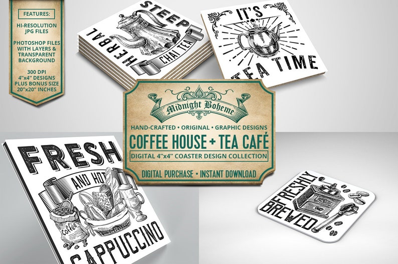 The Caf\u00e9 Style Coffee and Tea Coaster Collection for Printing 4x4 Coasters Trivets /& More
