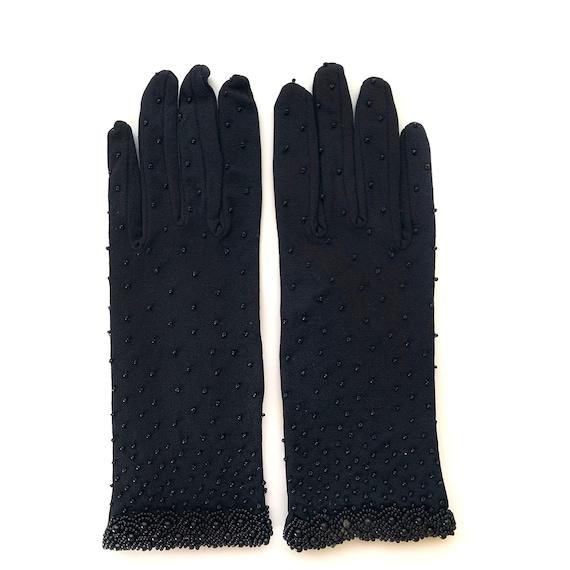 Vintage 1950s Black Beaded Gloves