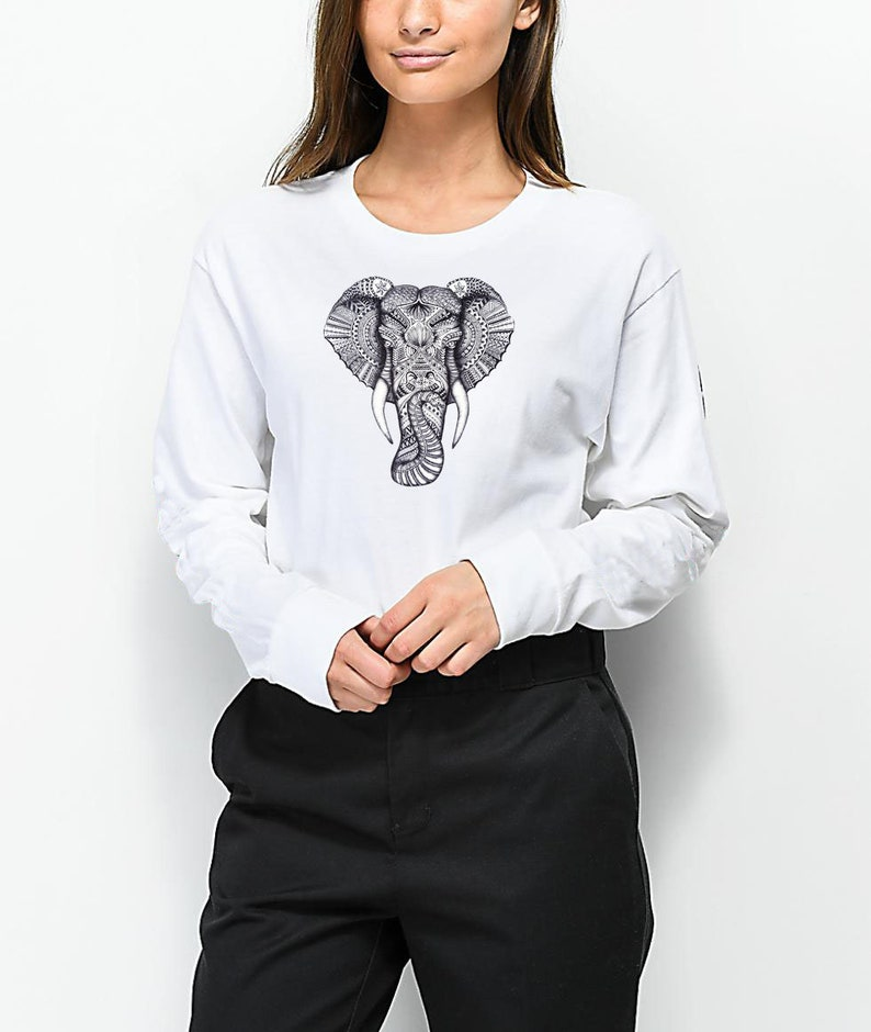 703971a087562c Elephant T-Shirt Animal Lover long sleeve Vegan Tee shirt