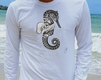 Seahorse shirt/ seahorse tshirt men/ seahorse tshirt/ tee shirt men/ seahorse/ white shirt men/ long sleeve shirt/ graphic tee/ white shirt CegdHywYW