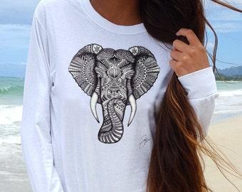 Elefant T Shirt - Elefant Hemd - T-Shirt Elefant - Elefant Tee - Elefant T-Shirt-Elefant Kleidung - Elefant Print Shirt - Elefant-Top