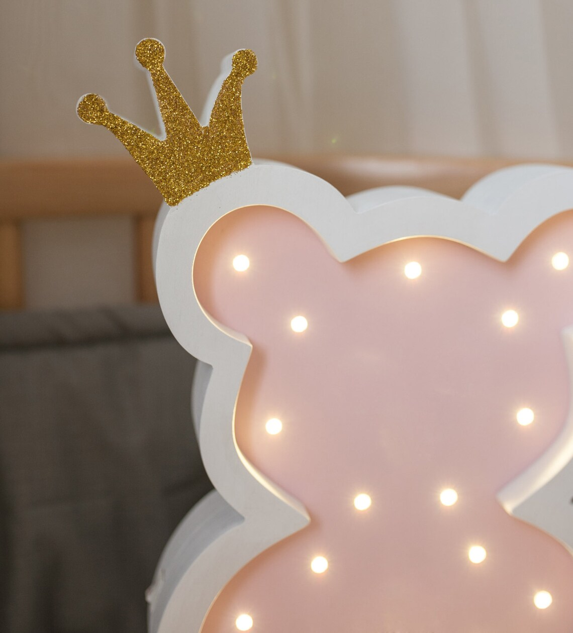 Night light lamp - Teddy bear - Bear lamp - Gift for baby - Kids lamp - Lamp Bear with crown  - Eclairage