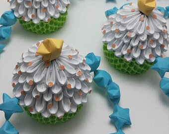 Lime Green 3D Origami Cupcake Garland With Bright Blue Stars
