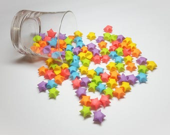 Bright Rainbow Origami Lucky Stars 102 Count Colored Wishing Baby Shower Decoration Birthday Party Decor