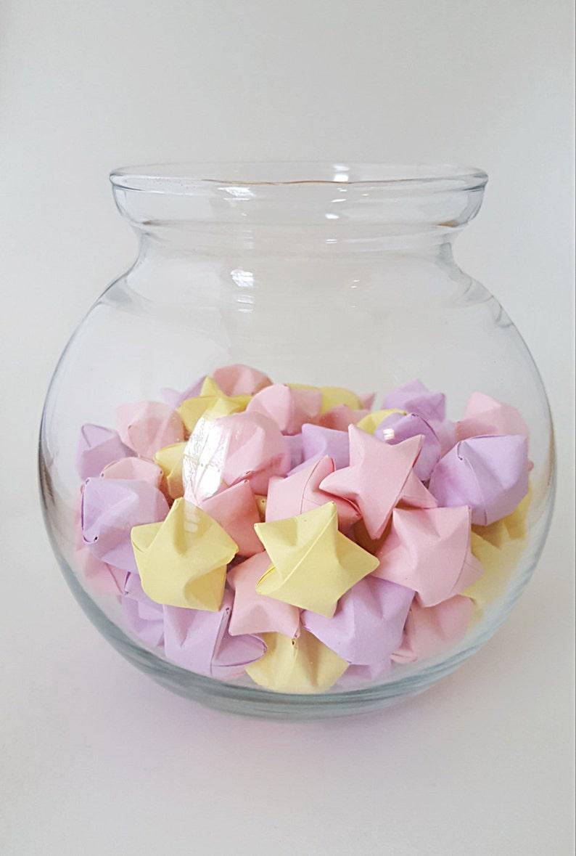 Origami Lucky Stars ~ 102 Count ~ Pastel Pink ~ Pastel Purple ~ Pastel Yellow ~  Wishing Stars ~ Pastel Stars ~ Baby Shower Decor