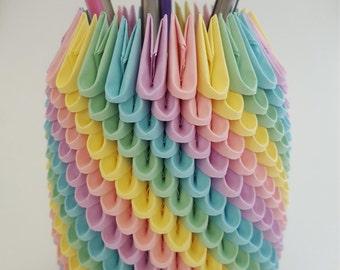 Pastel Rainbow 3D Origami Pencil Holder ~ Pen Holder ~ Modular Origami ~ Desk Accessory ~ Office Origami