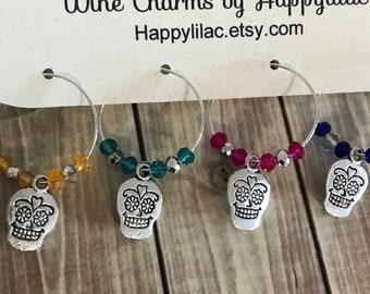 Sugar Skull Wine Charm, Sugar Skull, 4 Wine Charms, Wine Glass Charm, Skull, Sugar Skull Decor, Coco, Day of the Dead, Dia de los Muertos