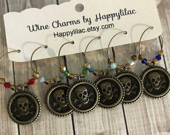 Skull Wine Charm, Skull and Crossbones, Bronze Wine Charm, Wine Glass Charm, Skull, Crossbones, Pirate Decor, Skull Decor, Birthday Gift