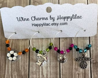 Soccer Wine Charms, Soccer, Wine Glass Charm, Wine Charms, Football, Soccer Ball, Soccer Player, Soccer Club, Soccer Gift, Soccer Jersey