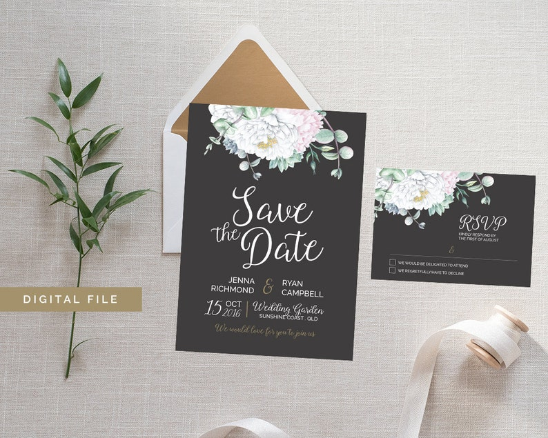 Floral Save the Date & RSVP Card SET  White Peony Succulent image 0
