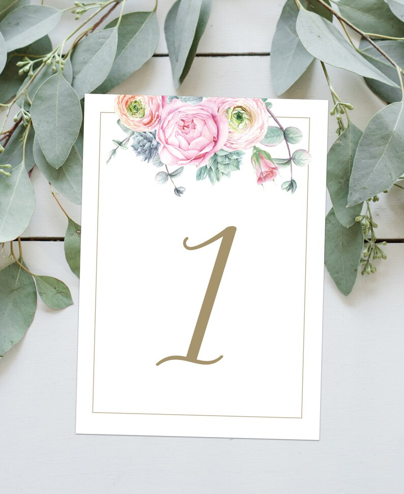 Wedding Table Numbers  Floral Watercolour Pink Peony  image 0