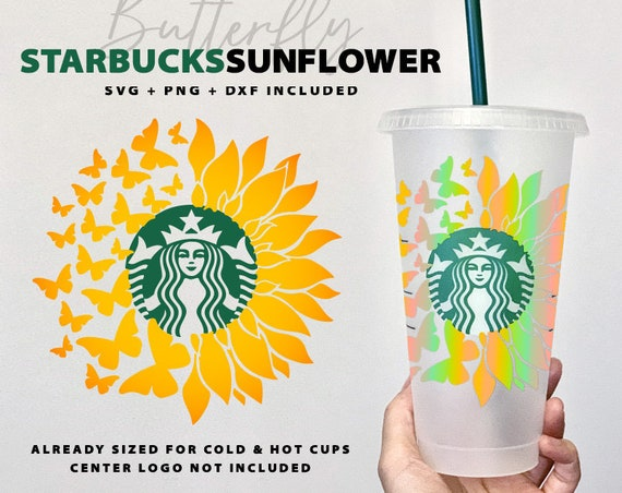 Sunflower Starbucks Coffee Svg Butterfly Summer Starbucks Etsy