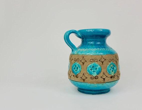 Pair Of Mid Century Aldo Londi Bitossi Vases or Candle Holders For Rosenthal Netter Ceramic Mid Century Decor Vintage Yellow Vases