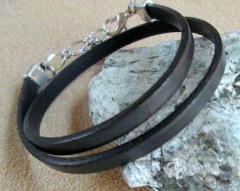 Black Leather Bracelet, Women's Leather Bracelet, Simple Black Leather Wrap Bracelet, Flat Leather Black Cuff Bracelet, Black Wrap Bracelet