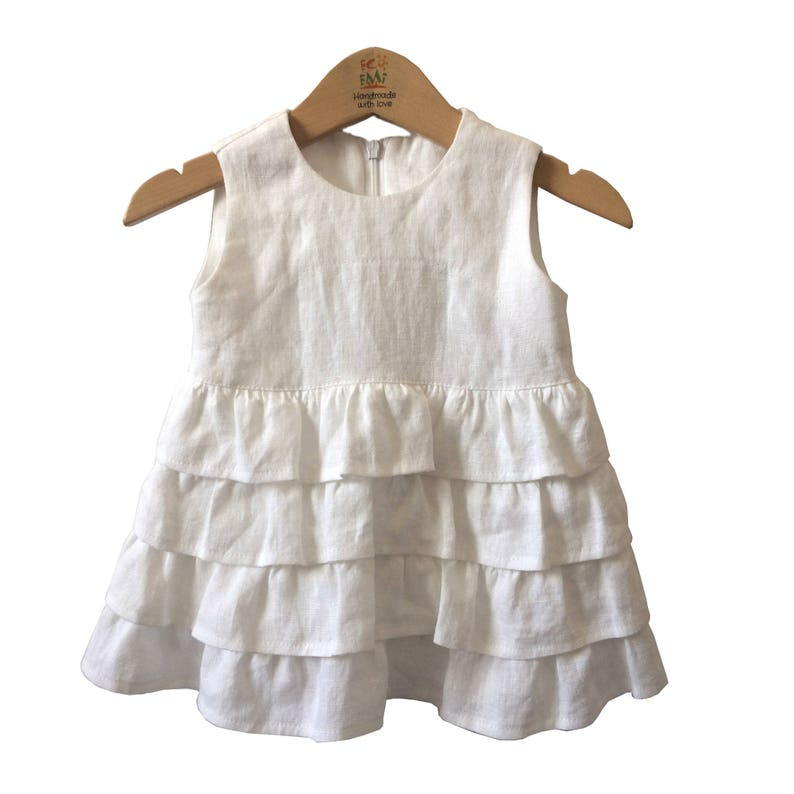 bb036ded97 Sukienka lniana dziewczynka Biała chrzest sukienka lniane
