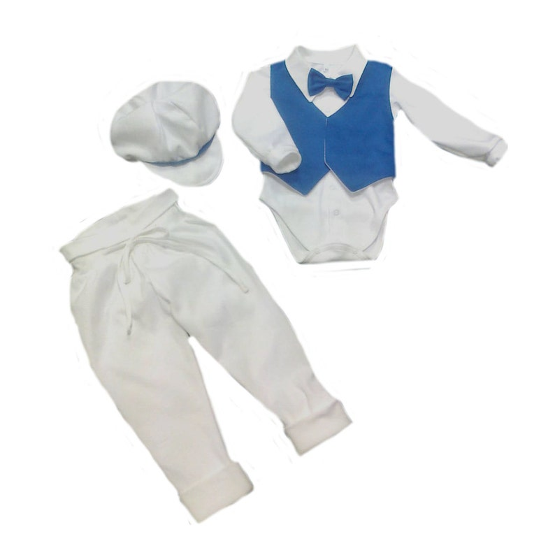 Babyboy christening outfit Babyboy first outfit white blue festive set Boy Blessing Outfit with Hat Babyboy festive suit