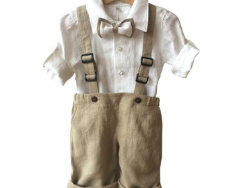Ring bearer linen outfit, Boys linen suit white beige, Boys baptism suit,  christening set, festive set, Boy Blessing Outfit, linen shirt