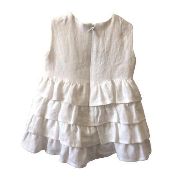 Baby Mädchen Leinen Kleid Weiß Leinen Kleid Taufe Taufe Leinen Sommersprossen Kleid Weißes Leinen Kleid Mit Volants