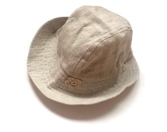 Girls Linen hat beige, Girls sun hat, summer linen hat, girls linen hat,  flax hat, handmade linen hat